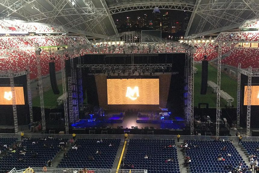 Concertgoers are happy that the stage for American singer Mariah Carey's concert at National Stadium on Friday has been moved off the pitch and closer to the audience. -- ST PHOTO:NATASHA ANN ZACHARIAH
