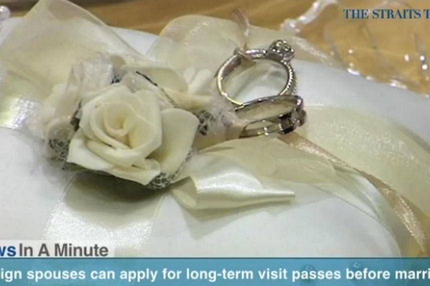 In today's News In A Minute, we look at Singaporeans planning to marry foreigners to apply for their spouses' Long Term Visit Pass before they tie the knot. -- PHOTO: SCREENGRAB FROM VIDEO