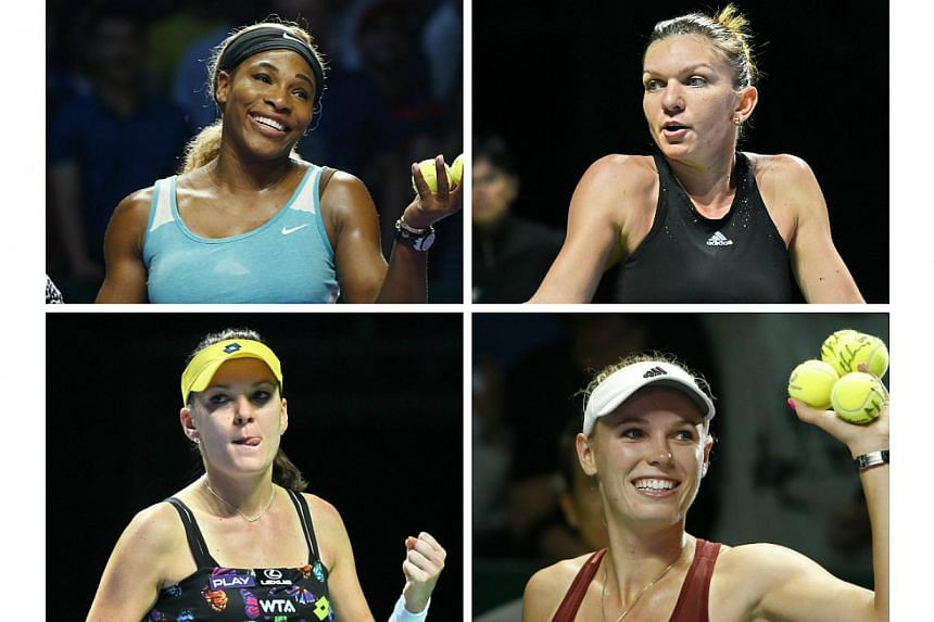 (Clockwise from left)Serena Williams, Simona Halep, Caroline Wozniacki and Agnieszka Radwanska advance out of the opening round-robin stage at the Singapore Indoor Stadium on Friday. -- PHOTO: REUTERS/AFP