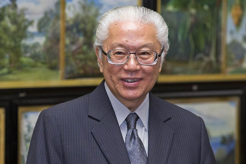 Singapore's President Tony Tan Keng Yam speaks in the Marianne North Gallery during a visit to Kew Gardens in West London on Oct 24, 2014. -- PHOTO: AFP