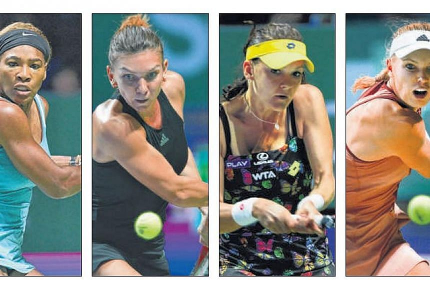 (From left) World No. 1 Serena Williams, No. 4 Simona Halep, No. 6 Agnieszka Radwanska and No. 8 Caroline Wozniacki are left to contend for the Billie Jean King trophy.-- ST PHOTOS: KUA CHEE SIONG, ONG WEE JIN