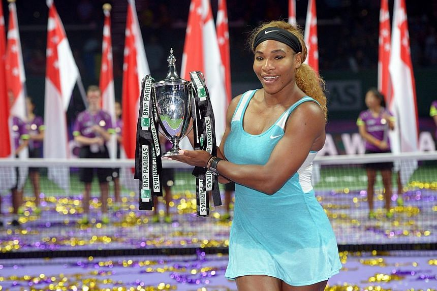 WTA Finals final between Serena Williams beat Simona Halep in two straight sets, a rematch of their match from three days ago. -- ST PHOTO:DESMOND WEE