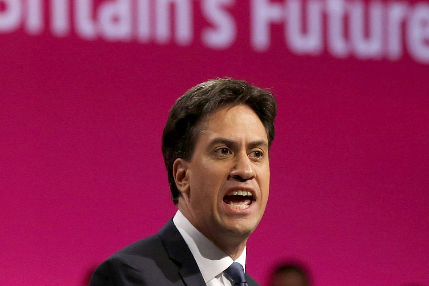The leader of Britain's opposition Labour Party, Ed Miliband, speaks at the party's annual conference in Manchester, northern England, on Sept 23, 2014. -- PHOTO: REUTERS