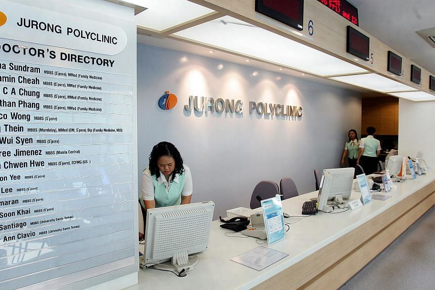 Outpatient care at Jurong Polyclinic. A new online portal will be launched next year to help health-care planners draw on best practices and share knowledge of health-care facilities. -- PHOTO: ST FILE