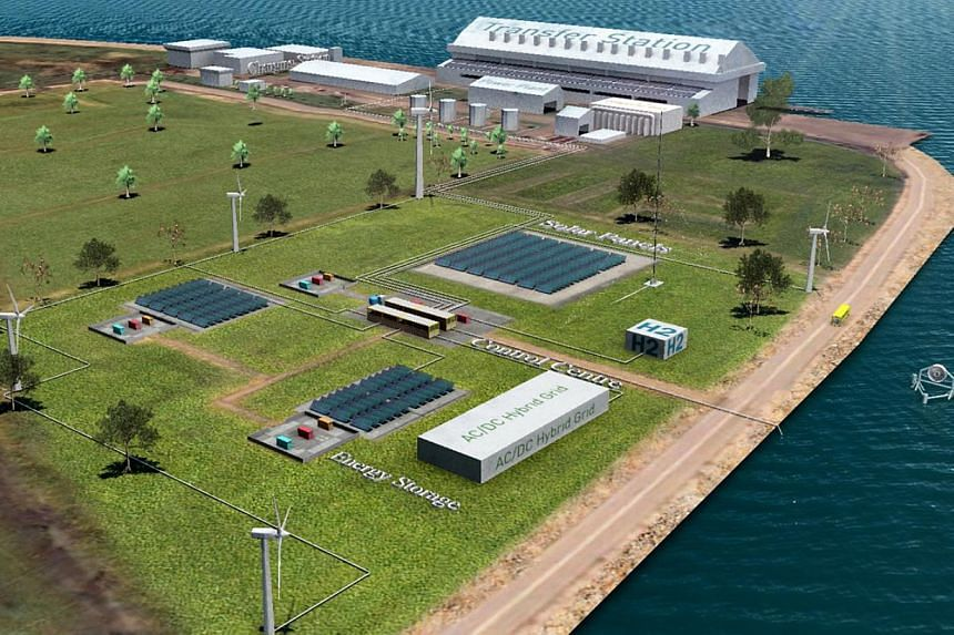 An artist's impression of thehybrid micro-grid that will be builtoffshore at the Semakau Landfill. -- PHOTO: NTU