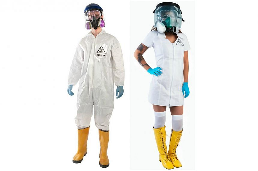 Brands On Sale offers both men and women's Ebola containment suit costumes- complete with face shield, breathing mask, safety goggles and latex gloves. -- PHOTO: BRANDSONSALE.COM
