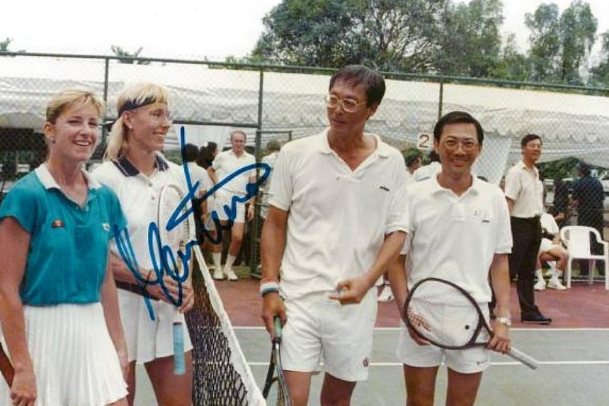 Emeritus Senior Minister Goh Chok Tong (third from left) with American tennis legends Chris Evert (left) and Martina Navratilova. With Mr Goh is former minister Lee Boon Yang.-- PHOTO: GOH CHOK TONG/ FACEBOOK