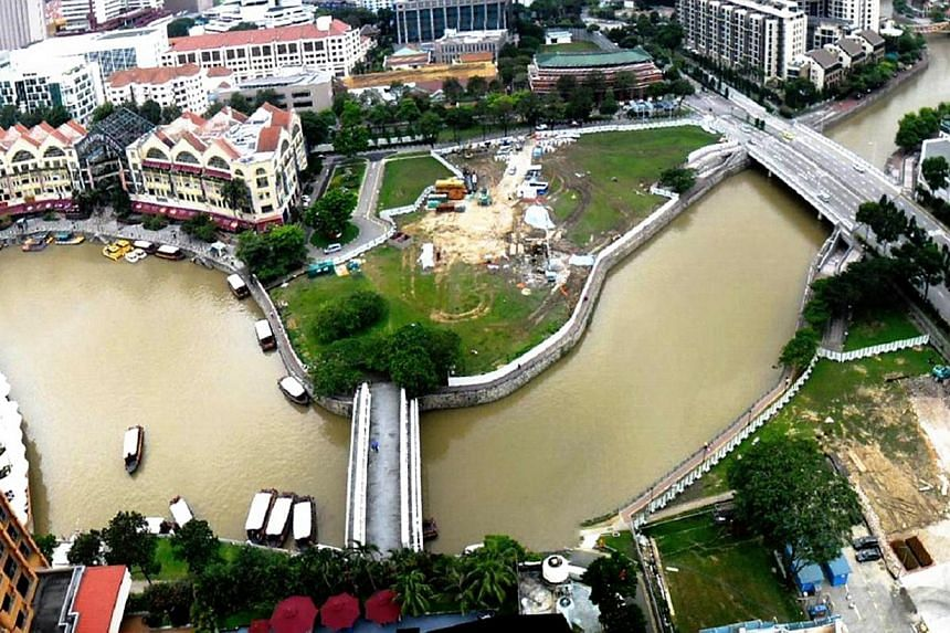 The Singapore River and its surroundings as seen before the diversion works began (above left), in November 2012 (top left) and this year (right). The process involved demolishing parts of the old river embankment while building a series of dams, har
