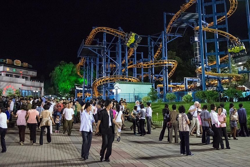 A roller-coaster at an amusement park in North Korea where locals and tourists go. North Korea has announced it intends to quarantine all foreigners entering the country for 21 days, no matter what their country of origin, as a measure against the sp