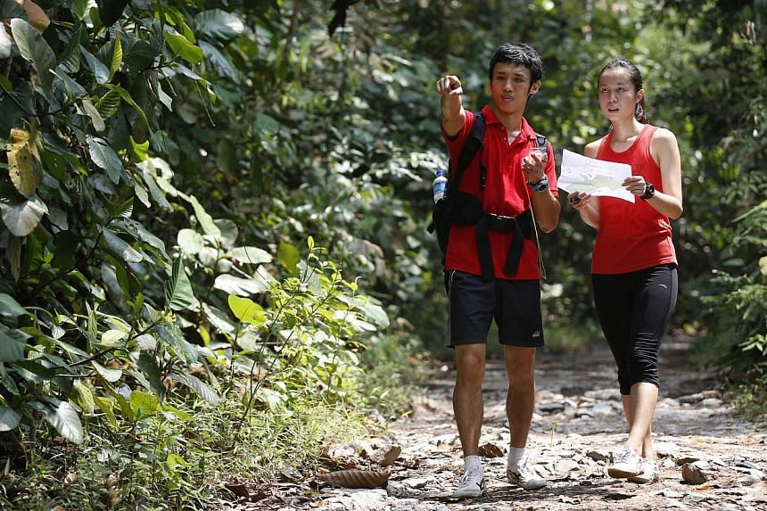 Members of the Singapore Orienteering Meetup Club check maps before setting out on a route. Strength and movement teacher Jay Ding and his girlfriend Jasmine Lee (both above), an assistant director at MediaCorp, navigating their way in MacRitchie dur