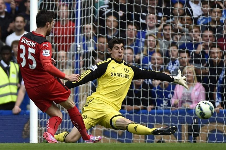 Thibaut Courtois reckons Chelsea are capable of achieving what the Belgium goalkeeper came agonisingly close to doing at Atletico Madrid last season - winning a European and domestic double. -- PHOTO: REUTERS