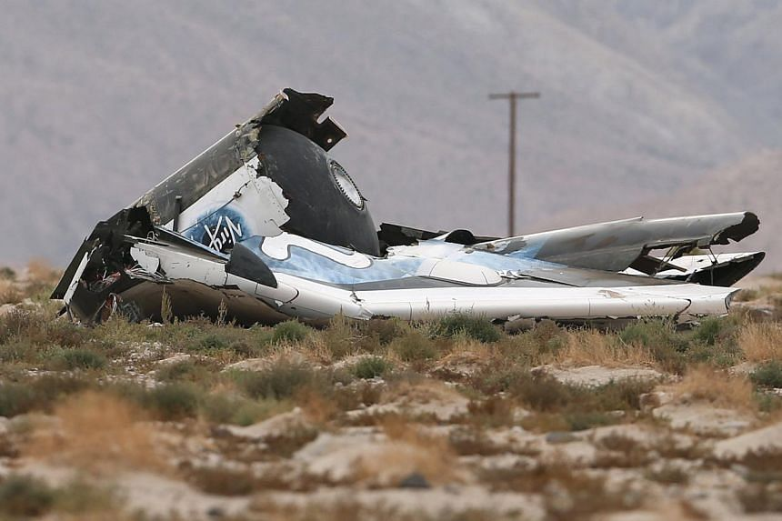 A piece of debris is seen near the scene of the crash of Virgin Galactic's SpaceShipTwo near Cantil, California on Oct 31, 2014. -- PHOTO: REUTERS
