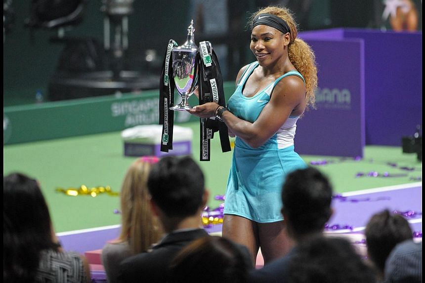 American tennis ace Serena Williams with the trophy after winning the BNP Paribas WTA finals in Singapore last weekend. In tennis, as in Formula One racing, data analytics is increasingly becoming a vital component contributing to overall performance
