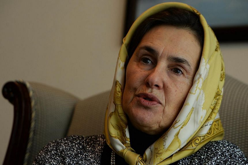 Afghan first lady Rula Ghani, also known as Bibi Gul, speaks during an interview with AFP at the Presidential Palace in Kabul on Oct 30, 2014.Afghanistan's cosmopolitan new first lady has backed France's controversial ban on the niqab, comparin