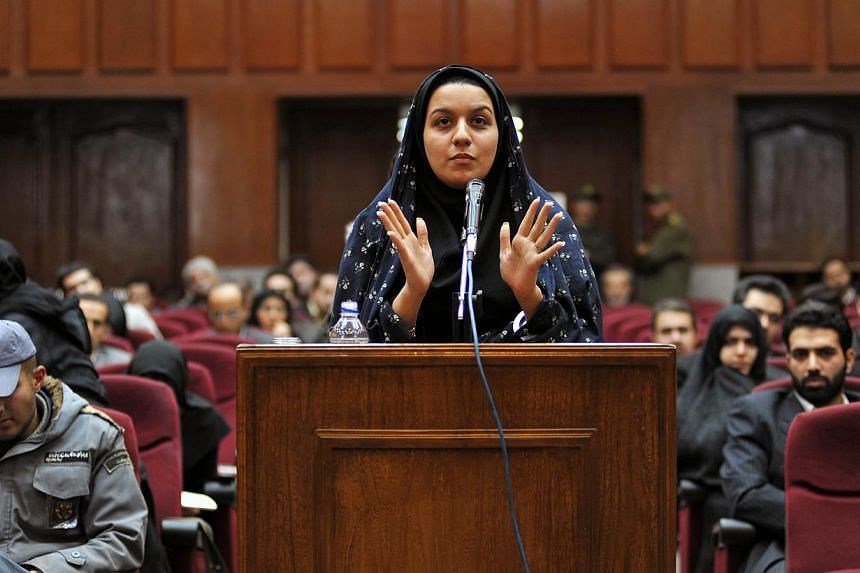 A file picture taken on Dec 15, 2008, shows Iranian Reyhaneh Jabbari speaking to defend herself during the first hearing of her trial for the murder of a former intelligence official at a court in Teheran. Jabbari was hanged by Iran on Oct 25, 2014.