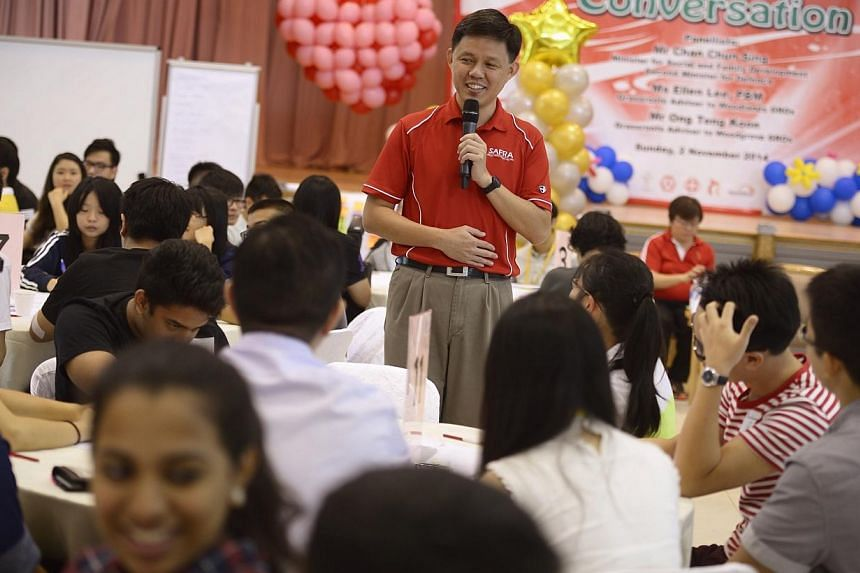 Minister for Social and Family Development Chan Chun Sing speaking to students at the Our Singapore 2065 dialogue, during which he encouraged them to be aware of global developments, analyse the issues, apply lessons from elsewhere to Singapore's con