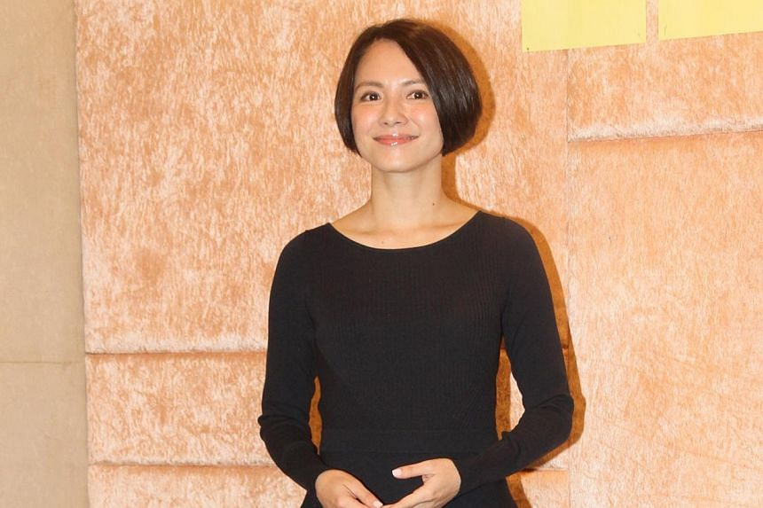 Malaysian actress Lee Sinje at the Hong Kong wrap party for The Election last Friday, her first appearance at a public function following her director husband Oxide Pang's cheating scandal in May.-- PHOTO: APPLE DAILY