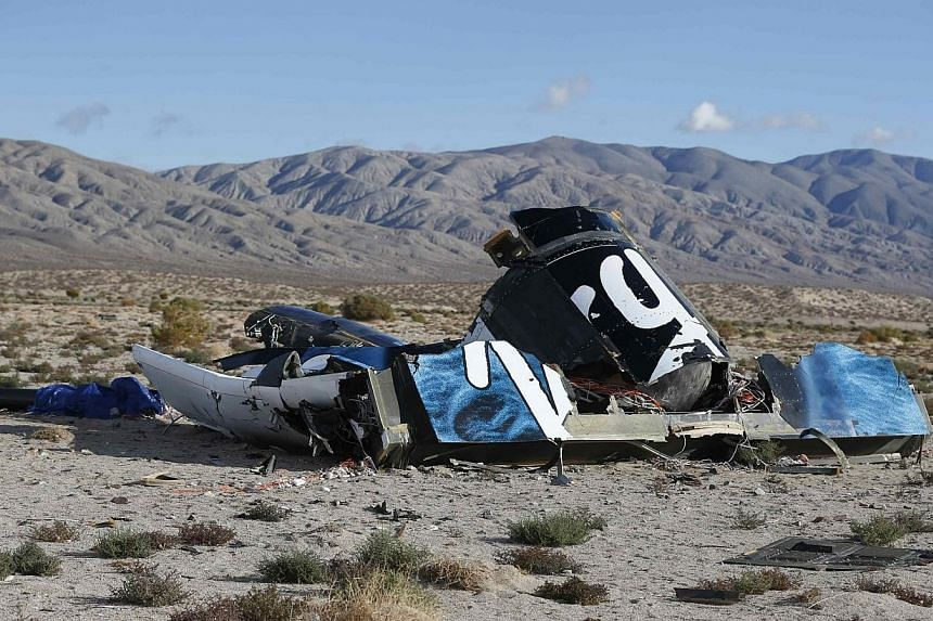 A piece of debris is seen near the crash site of Virgin Galactic's SpaceShipTwo near Cantil, California on Nov 1, 2014. -- PHOTO: REUTERS