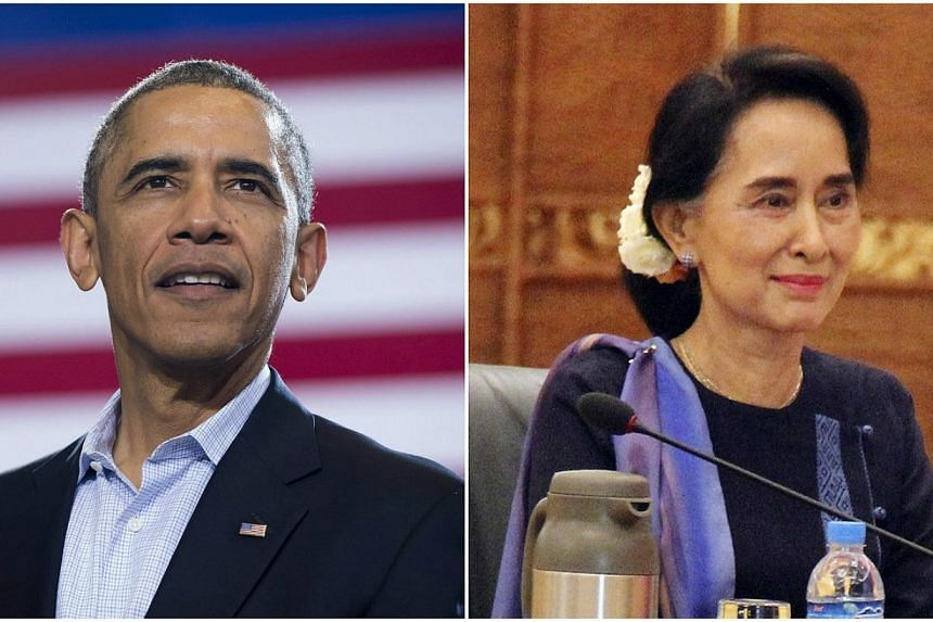 US President Barack Obama will meet Myanmar opposition leader Aung San Suu Kyi in Yangon on November 14, during a six-day trip through Asia, the White House said Tuesday. -- PHOTO: AFP/REUTERS