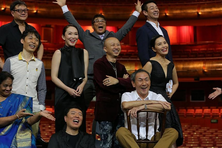 (From left, back row) Film-makers Eric Khoo and Jack Neo, dramatist Ivan Heng, (middle row) radio DJ Anna Lim, xinyao pioneer Liang Wern Fook, actress Fann Wong, producer-songwriter Billy Koh, actress Zoe Tay; (front row) Indian classical dance chore