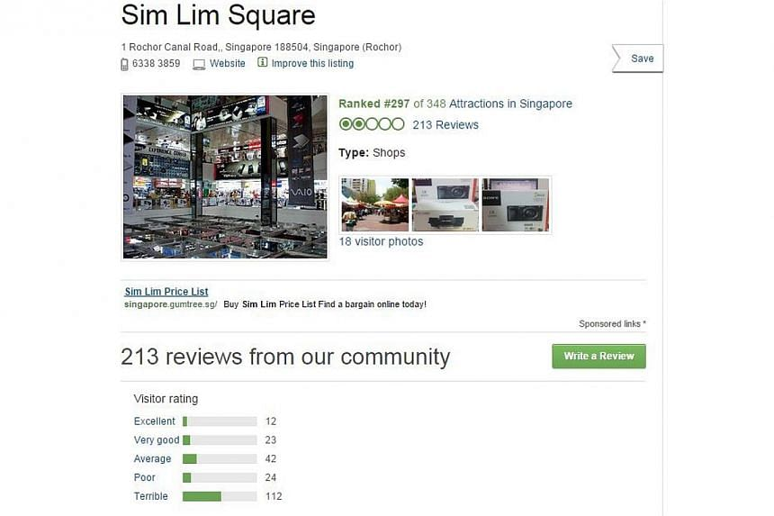 Sim Lim Square's bad name has gone international, with travel website TripAdvisor giving it bad reviews and a rating of two out of five stars. - PHOTO: SCREENGRAB FROM TRIPADVISOR.COM