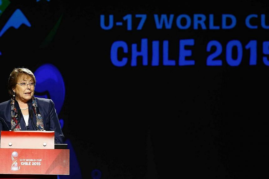 Chile's President Michelle Bachelet delivers a speech during the official launch of the 2015 Under-17 World Cup logo, in Santiago, on Oct 7, 2014. -- PHOTO: REUTERS