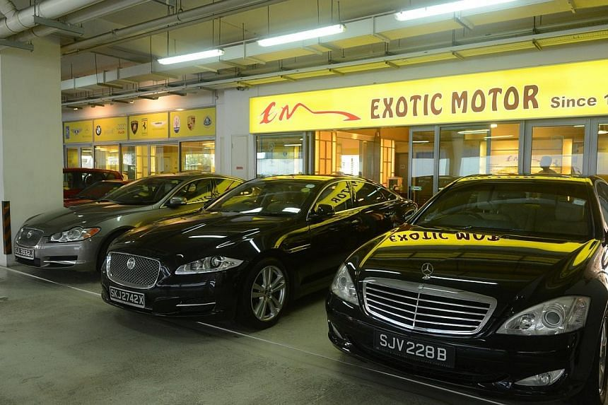 Exotic Motors, the car dealer involved in the dispute. A disgruntled customer left $19,000 of coins at its showroom on Tuesday. -- PHOTO: LIANHE WANBAO