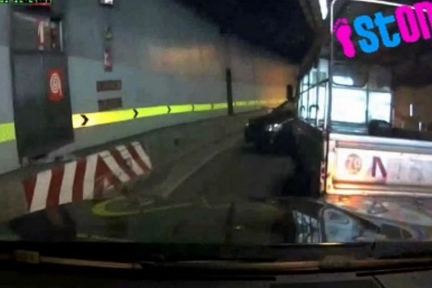 A second video showing a car reportedly making a three-point turn inside the CTE tunnel on Nov 1 has emerged. -- PHOTO: SCREENGRAB FROM STOMP.COM.SG