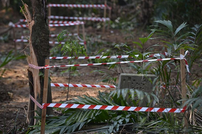 Work around the aged tombstones uncovered in Outram has stopped, a Ministry of Health spokesman said. The ministry has also notified the National Heritage Board (NHB) and the National Environment Agency, which oversees public exhumation works. NHB sa