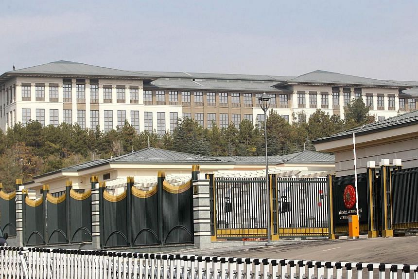 A picture shows the new Ak Saray presidential palace (White Palace) on the outskirts of Ankara on Oct 29, 2014.President Recep Tayyip Erdogan's grandiose new presidential palace is costing Turkey more than US$600 million (S$770 million), nearly