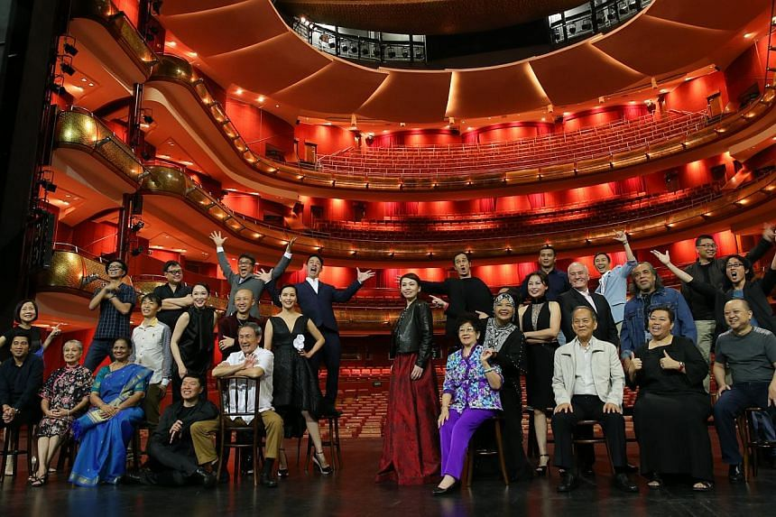 29 arts and entertainment stars came together for a photo shoot for an upcoming book tentatively titled Living The Singapore Story: 1965-2015. -- ST PHOTO: ONG WEE JIN