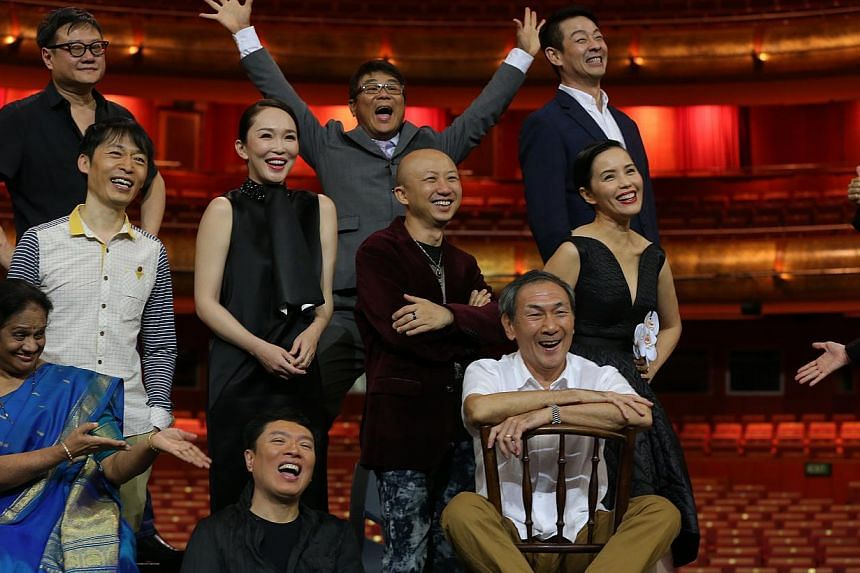 (From left, back row) Film-makers Eric Khoo and Jack Neo, dramatist Ivan Heng, (middle row) radio DJ Anna Lim, xinyao pioneer Liang Wern Fook, actress Fann Wong, producer-songwriter Billy Koh, actress Zoe Tay, (front row) Indian classical dance chore