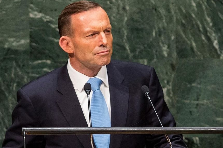 Australian Prime Minister Tony Abbott at the 69th United Nations General Assembly on Sept 25, 2014 in New York City. Australia will fund an Ebola treatment clinic in Sierra Leone, Mr Abbott said on Wednesday, responding to pressure from the United St