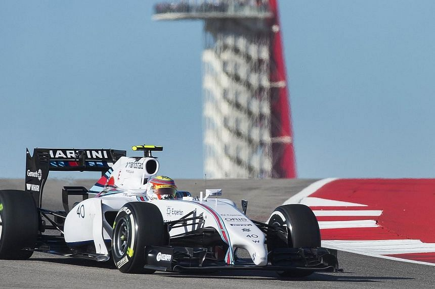 Brazilian-Lebanese driver Felipe Nasr of Williams Martini Racing takes a turn during the first practice session for the United States Formula One Grand Prix at the Circuit of the Americas track in Austin, Texas on Oct 31, 2014. Brazilian Felipe