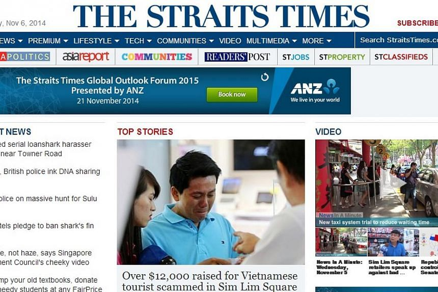 A screengrab of The Straits Times' website. The Straits Times remains the most-read English newspaper, with readership from print and digital editions reaching about a third of the population. -- SCREENGRAB: STRAITSTIMES.COM