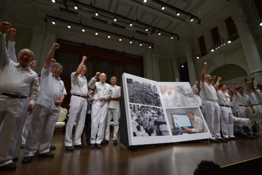 People's Action Party (PAP) members at the celebration of the PAP's 60th anniversary at Victoria Concert Hall. To commemorate the event, Prime Minister Lee Hsien Loong launched the book PAP60: Foward Together, which chronicles 60 defining moment