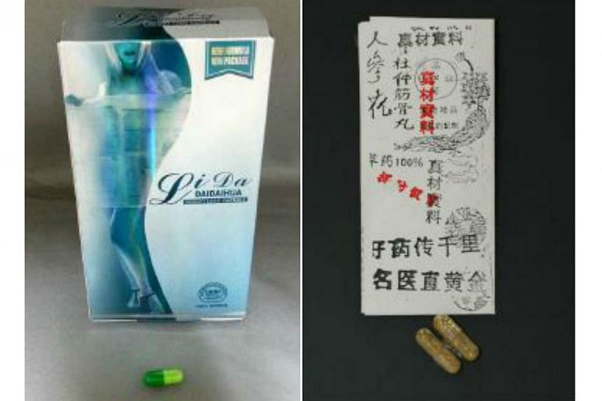 The Health Sciences Authority (HSA) has issued an alert on two illegal health products - Li Da DaiDaiHua Weight Loss Capsule (left) andDu Zhong Jin Gu Wan. -- PHOTO: HEALTH SCIENCES AUTHORITY
