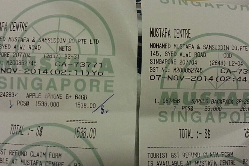 Receipt for the iPhone 6 purchased at Mustafa Centre for Mr Thoai. -- PHOTO: GABRIEL KANG