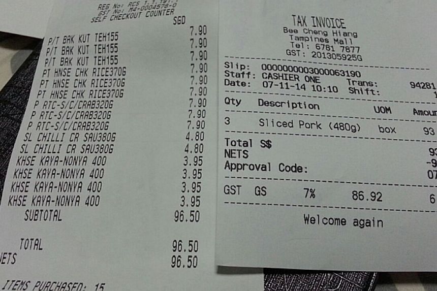 Receipt for the food items purchased by Mr Gabriel Kang for Mr Thoai. -- PHOTO: GABRIEL KANG