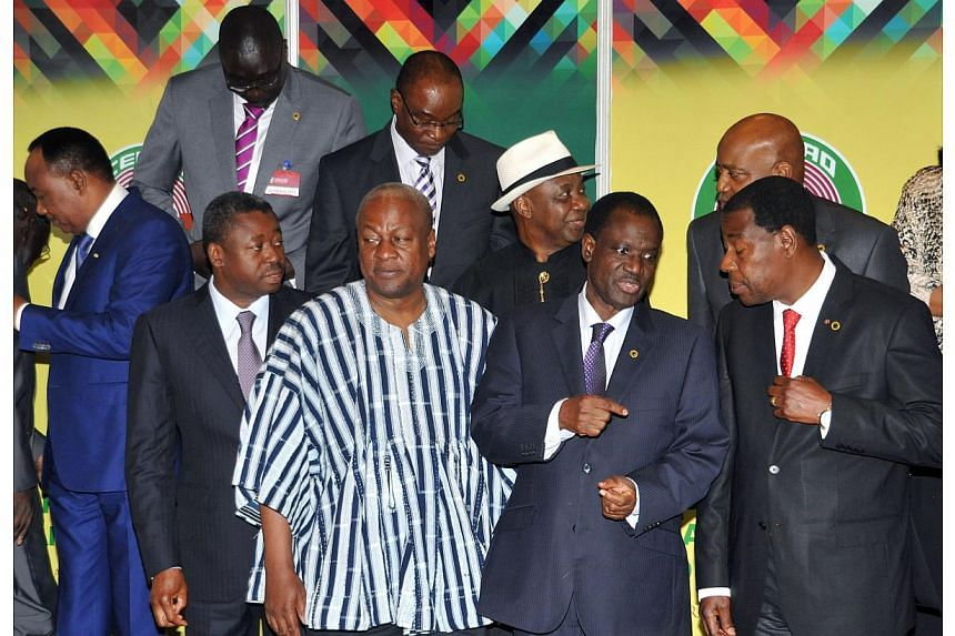 (From left) Niger's president Mahamadou Issoufou, Togo's president Faure Gnassingbe, Ghana's president and Economic Community of West Africa States (ECOWAS) president John Dramani Mahama, ECOWAS Commission Kadre Desire Ouedraogo and Benin's president