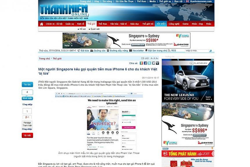 The Straits Times found at least 10 Vietnamese news sites, including the websites of prominant newspapers like Thanh Nien News (above), and Tuoi Tre, reporting on the plight of Mr Pham Van Thoai. -- SCREENGRAB: THANHNIEN.COM.VN