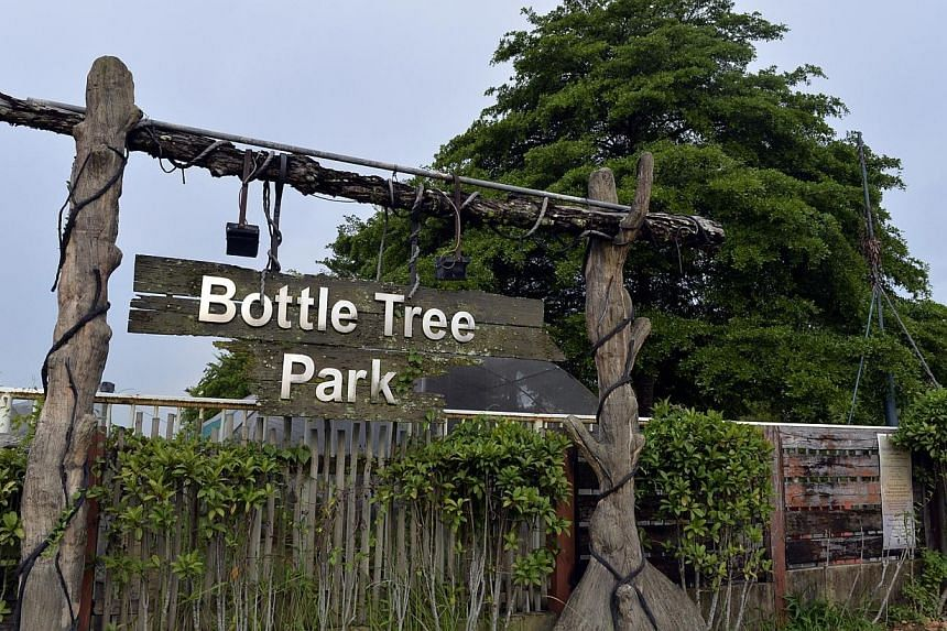 The entrance of Bottle Tree Park. Part of the former Bottle Tree Park in Khatib will host a 26,000 sqm community learning campus after plans were unveiled on Saturday by non-profit organisation Ground-Up Initiative (GUI). -- PHOTO: ST FILE