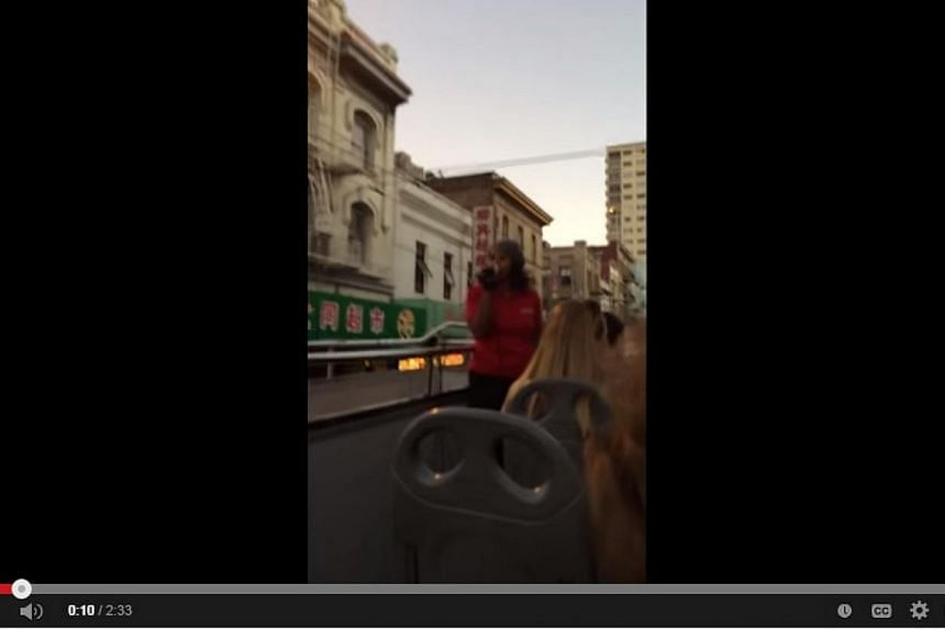 A San Francisco tour guide delivered a racist rant on her last day of work, spewing expletives about Chinatown while leading a group of tourists on an open-top bus. -- PHOTO: YOUTUBE