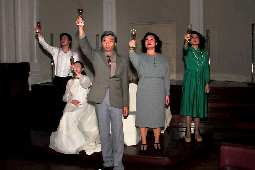 A scene from Body X, an experiential murder-mystery play commissioned for the Singapore Writers Festival. (From left to right) Ong Chin Hwee, Tan Wan Sze (in white gown), Tay Kong Hui, Judy Ngo (grey dress) and Doreen Toh (green dress). -- PHOTO: THE