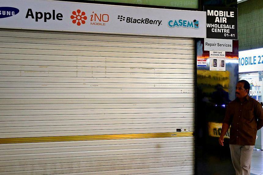 The shuttered Mobile Air at Sim Lim Square. The mobile phone shop has been in the news for all the wrong reasons recently.