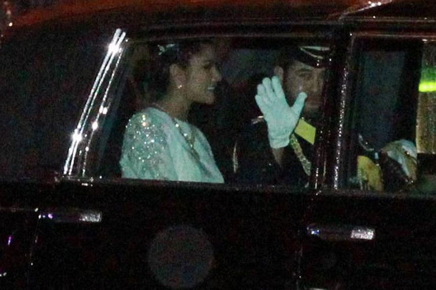 The royal couple, who were married in a private ceremony two weeks ago, reportedly met via social networking site Twitter two years ago. About 1,200 guests attended the gala celebrations to celebrate their wedding last night. Well-wishers braving the