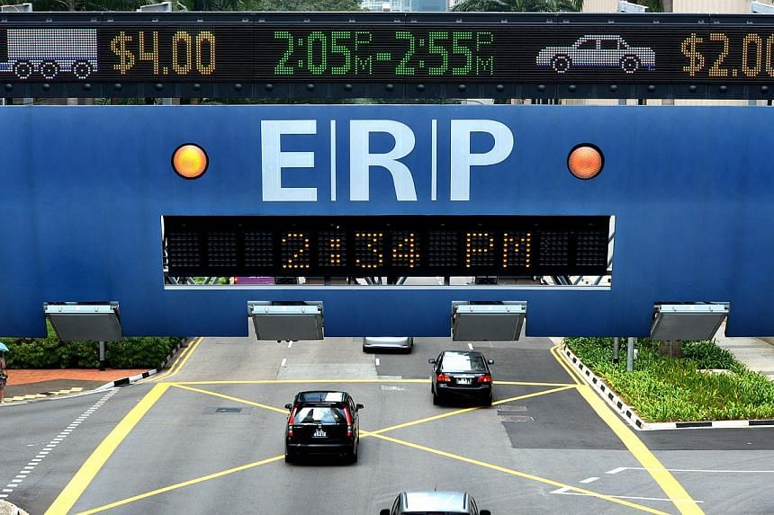 During the December school holidays, electronic road-pricing (ERP) rates on several roads will be reduced. -- PHOTO: ST FILE