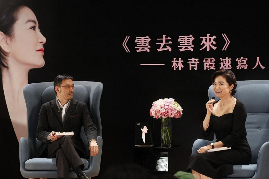 Former actress Lin Ching-hsia launched her book Cloud To Cloud at the University of Hong Kong on Nov 9, 2014, during which she shared a story about a suitor who stood her up.-- PHOTO: APPLE DAILY