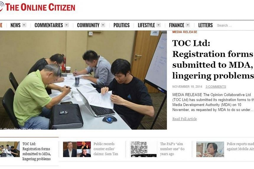 A screengrab of the homepage of socio-political website The Online Citizen. -- PHOTO: THE ONLINE CITIZEN WEBSITE