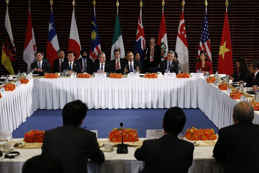 US President Barack Obama (centre) meets with the leaders of the Trans-Pacific Partnership (TPP) countries in Beijing on Nov 10, 2014. There was strong support among international leaders to reach a deal on the TPP in coming months, but no timel